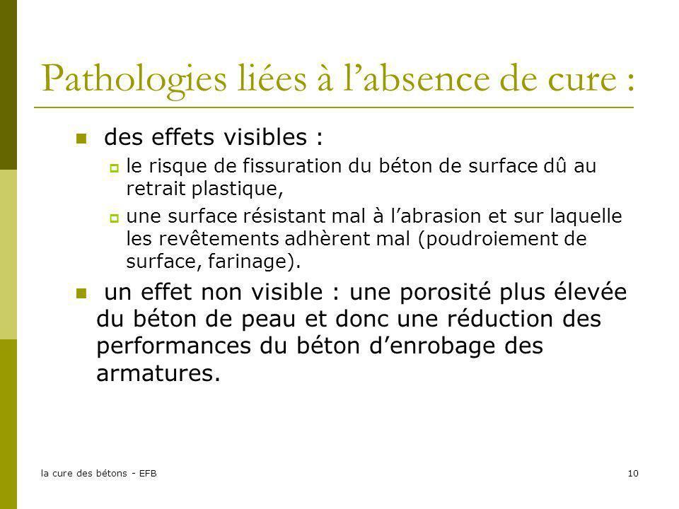 la cure des bétons - EFB10 Pathologies liées à labsence de cure : des effets visibles : le risque de fissuration du béton de surface dû au retrait pla