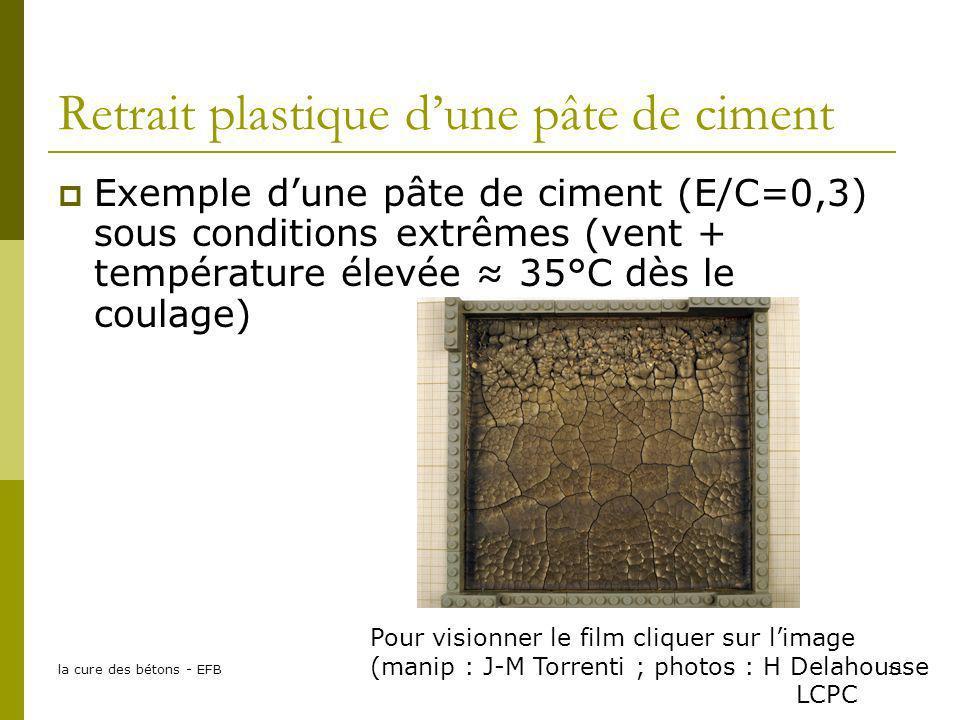 la cure des bétons - EFB11 Retrait plastique dune pâte de ciment Exemple dune pâte de ciment (E/C=0,3) sous conditions extrêmes (vent + température él