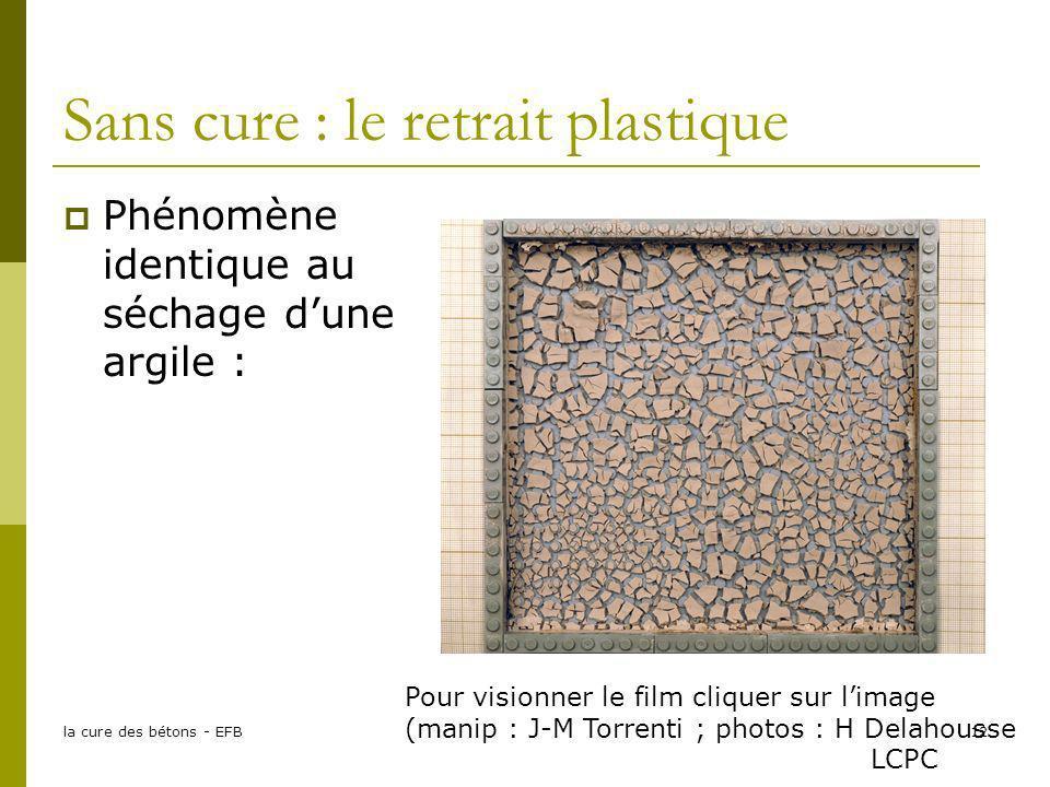 la cure des bétons - EFB12 Sans cure : le retrait plastique Phénomène identique au séchage dune argile : Pour visionner le film cliquer sur limage (ma