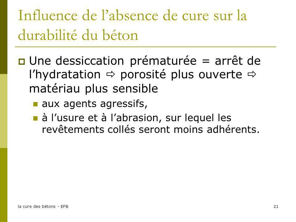 la cure des bétons - EFB21 Influence de labsence de cure sur la durabilité du béton Une dessiccation prématurée = arrêt de lhydratation porosité plus