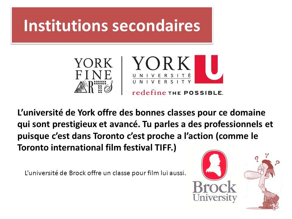 Institutions secondaires Luniversité de York offre des bonnes classes pour ce domaine qui sont prestigieux et avancé. Tu parles a des professionnels e