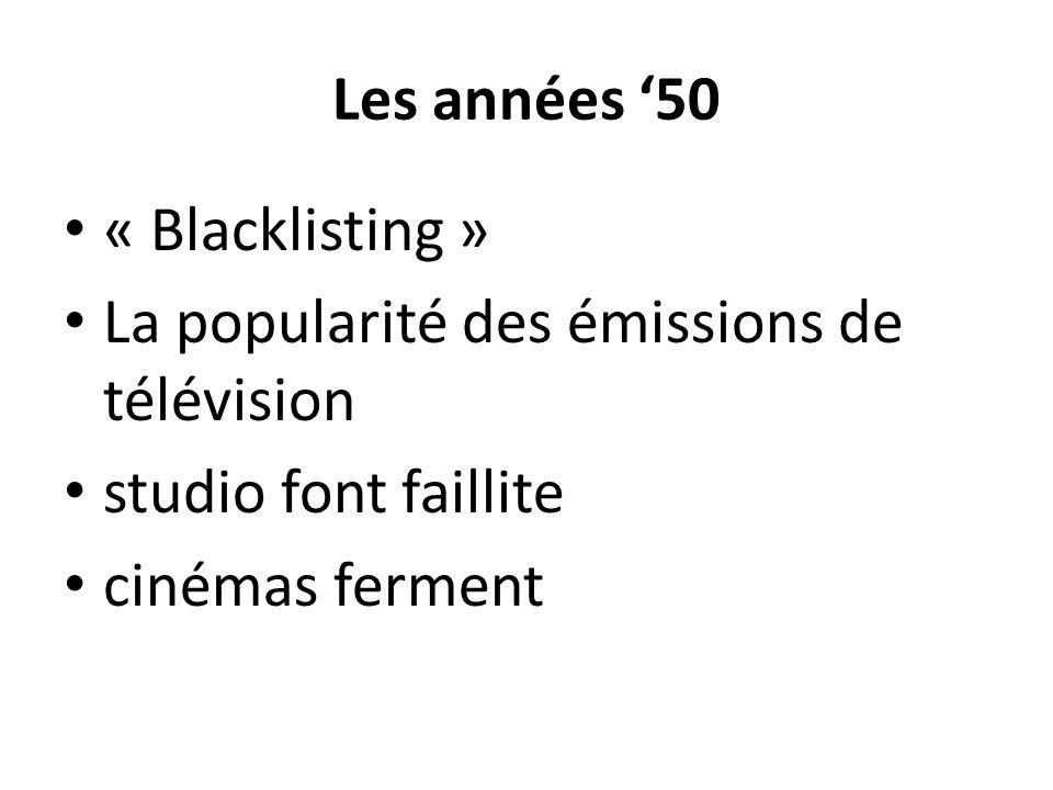 Les années 50 « Blacklisting » La popularité des émissions de télévision studio font faillite cinémas ferment