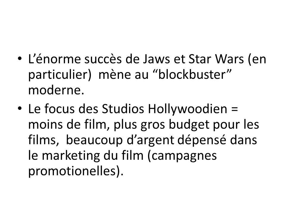 Lénorme succès de Jaws et Star Wars (en particulier) mène au blockbuster moderne. Le focus des Studios Hollywoodien = moins de film, plus gros budget