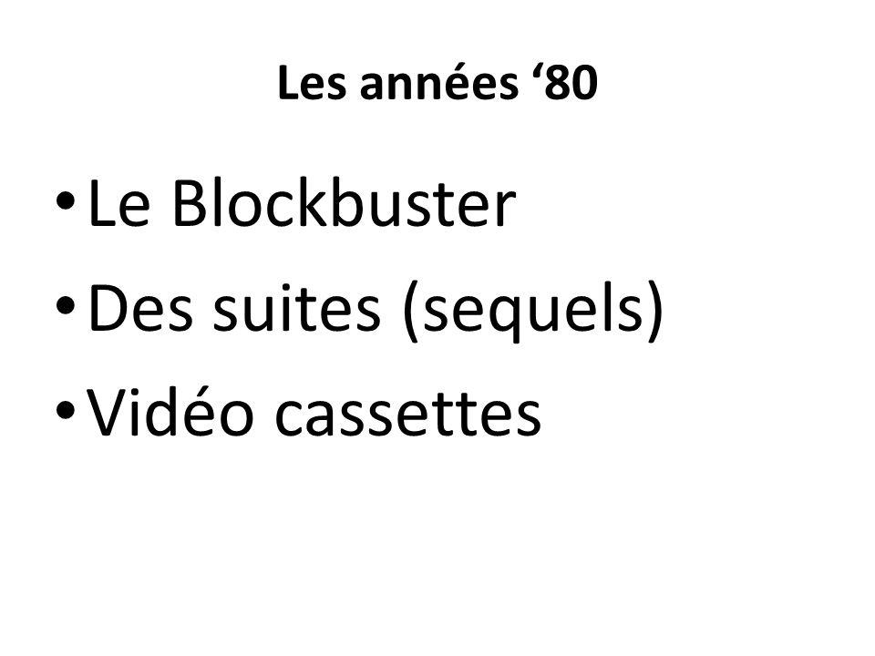 Les années 80 Le Blockbuster Des suites (sequels) Vidéo cassettes