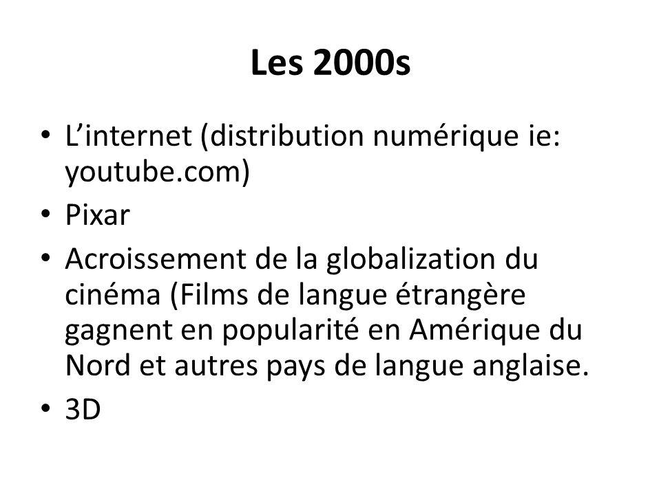 Les 2000s Linternet (distribution numérique ie: youtube.com) Pixar Acroissement de la globalization du cinéma (Films de langue étrangère gagnent en po