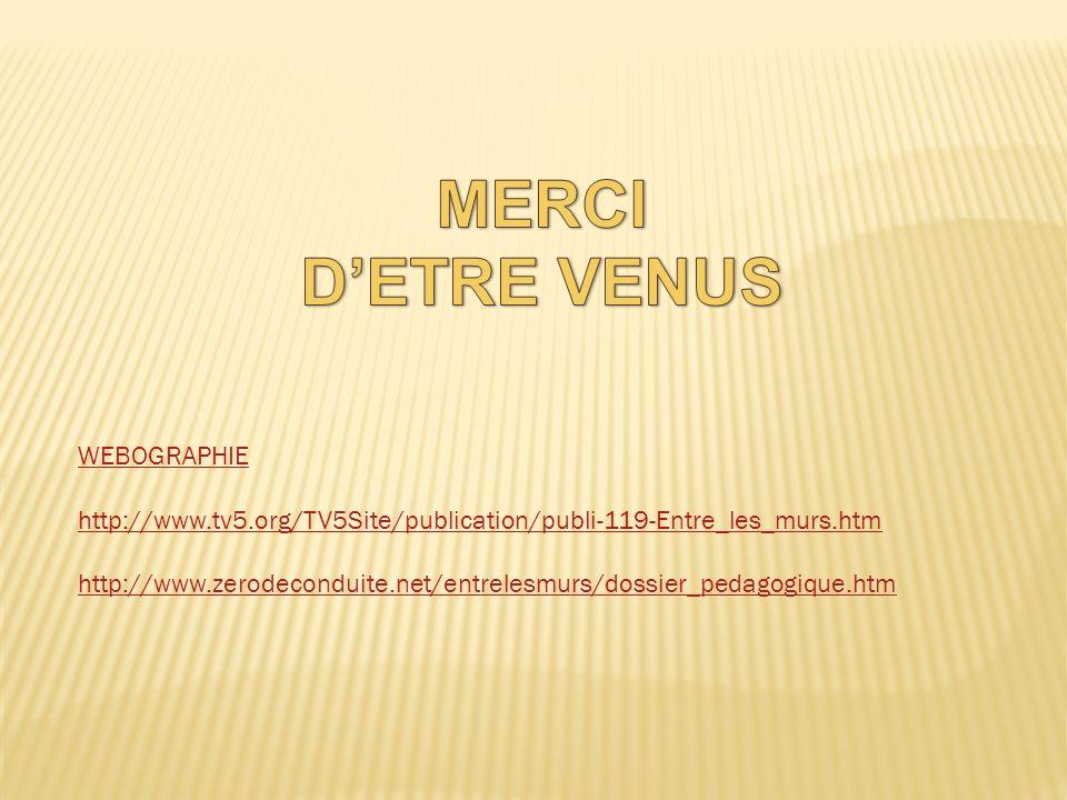 WEBOGRAPHIE http://www.tv5.org/TV5Site/publication/publi-119-Entre_les_murs.htm http://www.zerodeconduite.net/entrelesmurs/dossier_pedagogique.htm