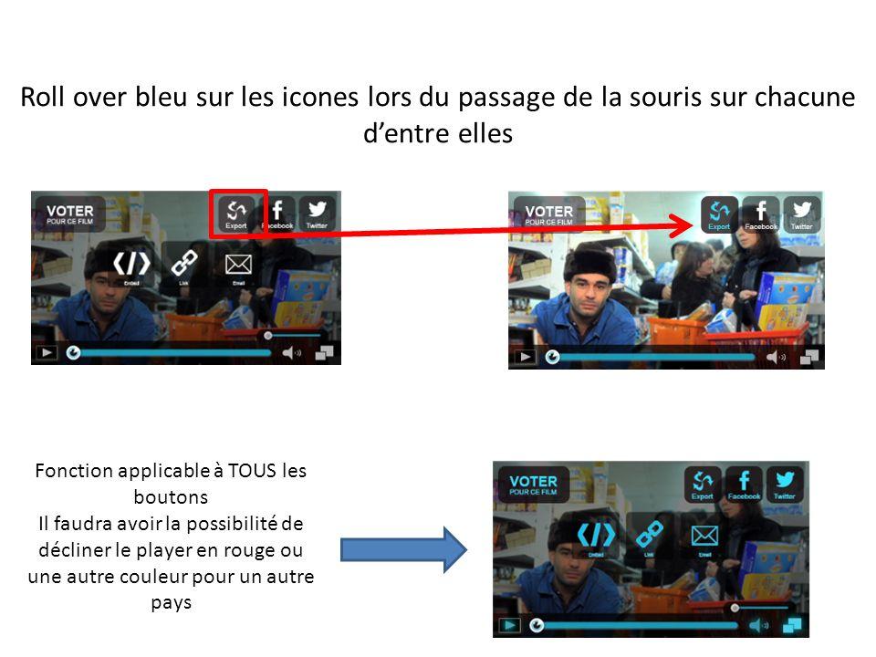 Roll over bleu sur les icones lors du passage de la souris sur chacune dentre elles Fonction applicable à TOUS les boutons Il faudra avoir la possibilité de décliner le player en rouge ou une autre couleur pour un autre pays