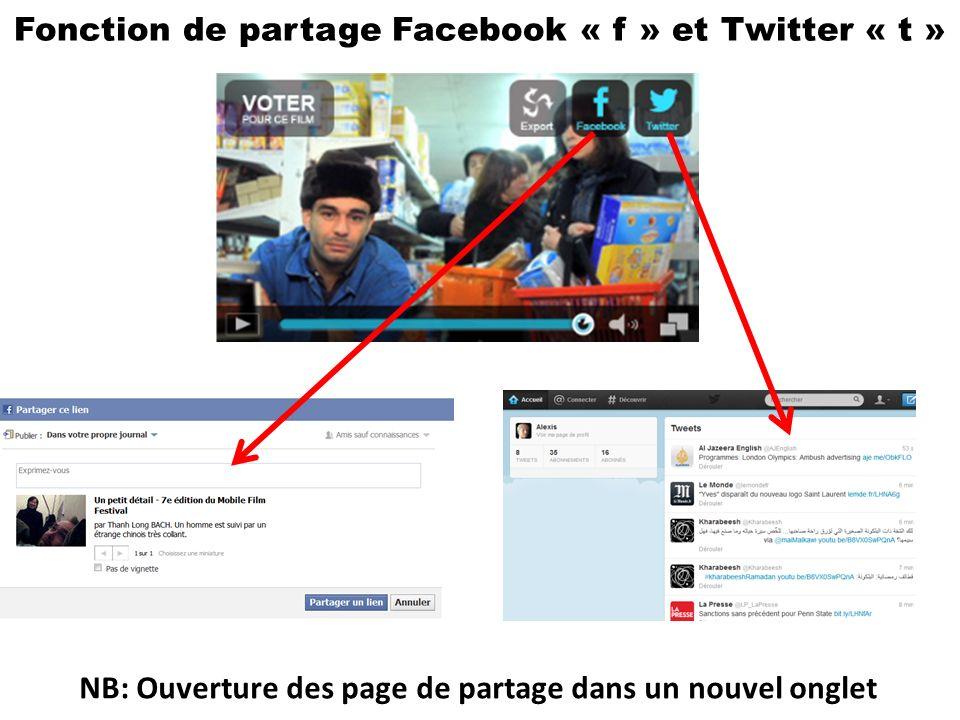 Fonction de partage Facebook « f » et Twitter « t » NB: Ouverture des page de partage dans un nouvel onglet
