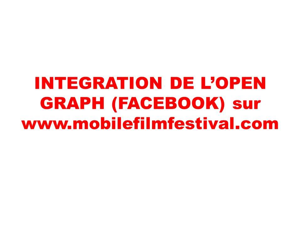 INTEGRATION DE LOPEN GRAPH (FACEBOOK) sur www.mobilefilmfestival.com