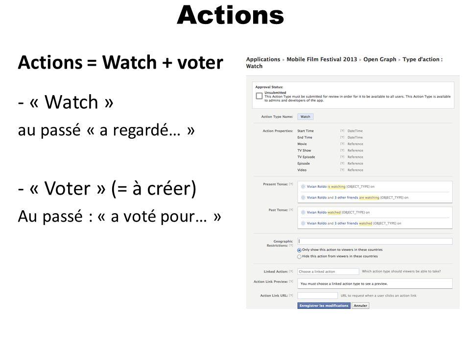 Actions Actions = Watch + voter - « Watch » au passé « a regardé… » - « Voter » (= à créer) Au passé : « a voté pour… »