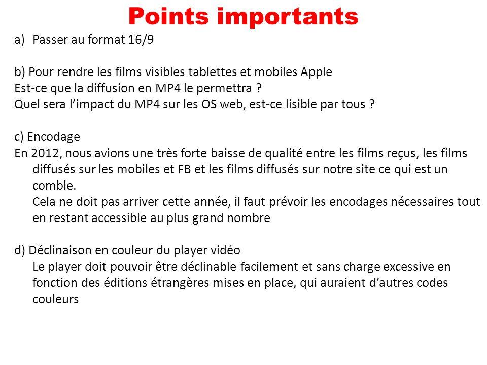 a)Passer au format 16/9 b) Pour rendre les films visibles tablettes et mobiles Apple Est-ce que la diffusion en MP4 le permettra .