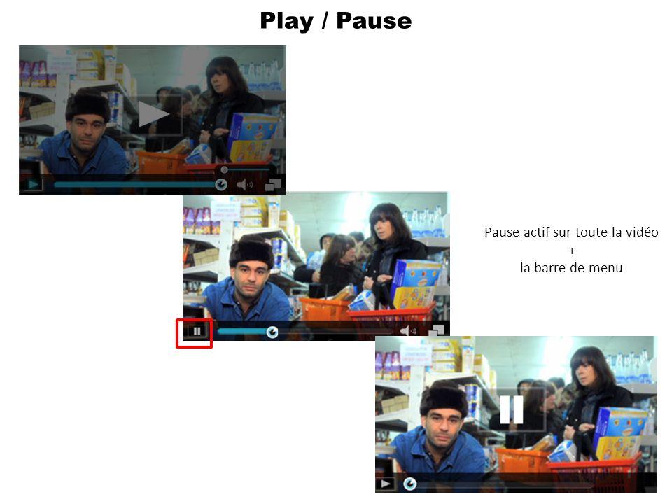 Play / Pause Pause actif sur toute la vidéo + la barre de menu