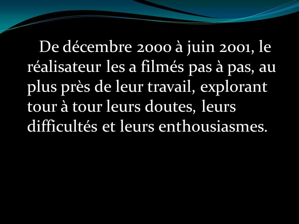 De décembre 2000 à juin 2001, le réalisateur les a filmés pas à pas, au plus près de leur travail, explorant tour à tour leurs doutes, leurs difficult