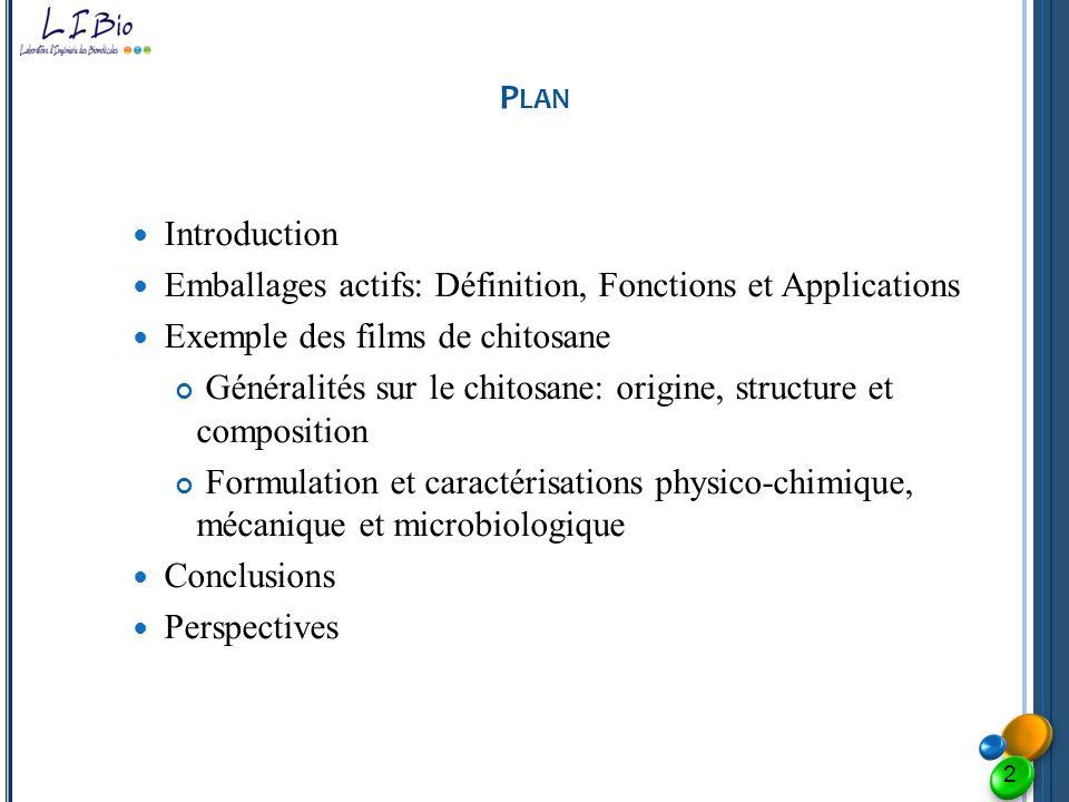 P LAN Introduction Emballages actifs: Définition, Fonctions et Applications Exemple des films de chitosane Généralités sur le chitosane: origine, stru