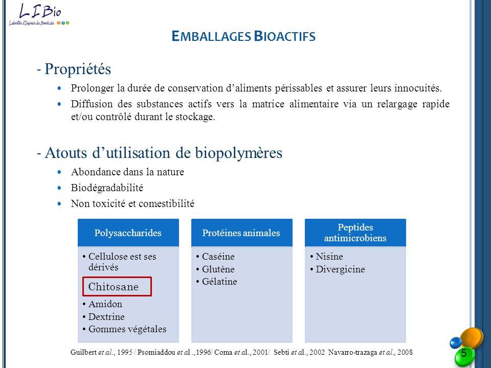 E MBALLAGES B IOACTIFS - Propriétés Prolonger la durée de conservation daliments périssables et assurer leurs innocuités. Diffusion des substances act