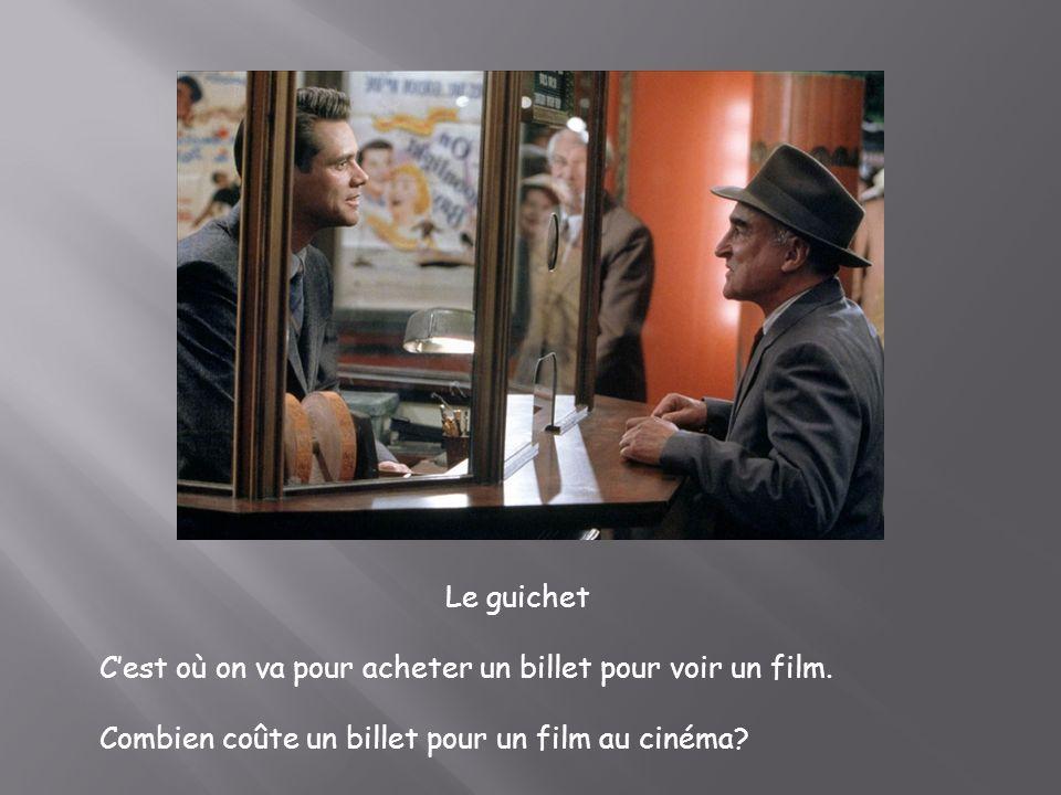 Le guichet Cest où on va pour acheter un billet pour voir un film. Combien coûte un billet pour un film au cinéma?