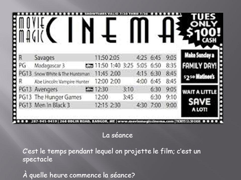 La séance Cest le temps pendant lequel on projette le film; cest un spectacle À quelle heure commence la séance?