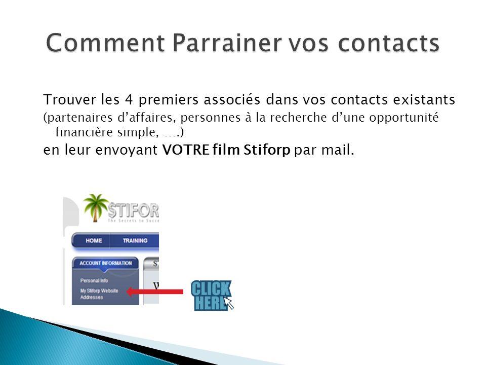 Trouver les 4 premiers associés dans vos contacts existants (partenaires daffaires, personnes à la recherche dune opportunité financière simple, ….) en leur envoyant VOTRE film Stiforp par mail.