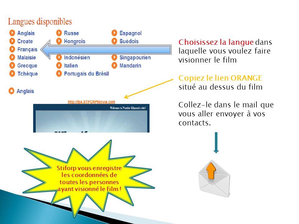Choisissez la langue dans laquelle vous voulez faire visionner le film Copiez le lien ORANGE situé au dessus du film Collez-le dans le mail que vous aller envoyer à vos contacts.