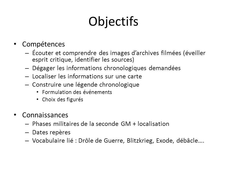 Objectifs Compétences – Écouter et comprendre des images darchives filmées (éveiller esprit critique, identifier les sources) – Dégager les informatio