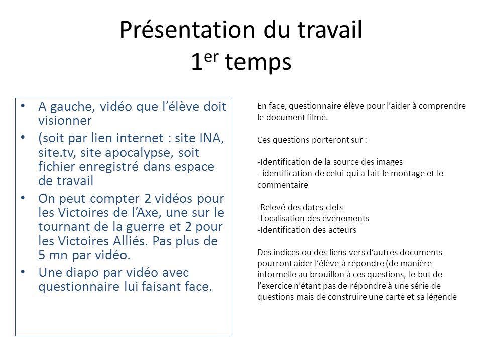 Présentation du travail 1 er temps A gauche, vidéo que lélève doit visionner (soit par lien internet : site INA, site.tv, site apocalypse, soit fichie