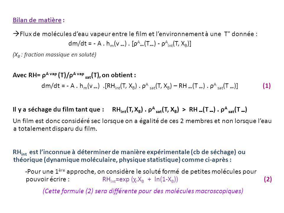 Bilan de matière : Flux de molécules deau vapeur entre le film et lenvironnement à une T° donnée : dm/dt = - A. h m (v ). [ρ A (T ) - ρ A int (T, X B