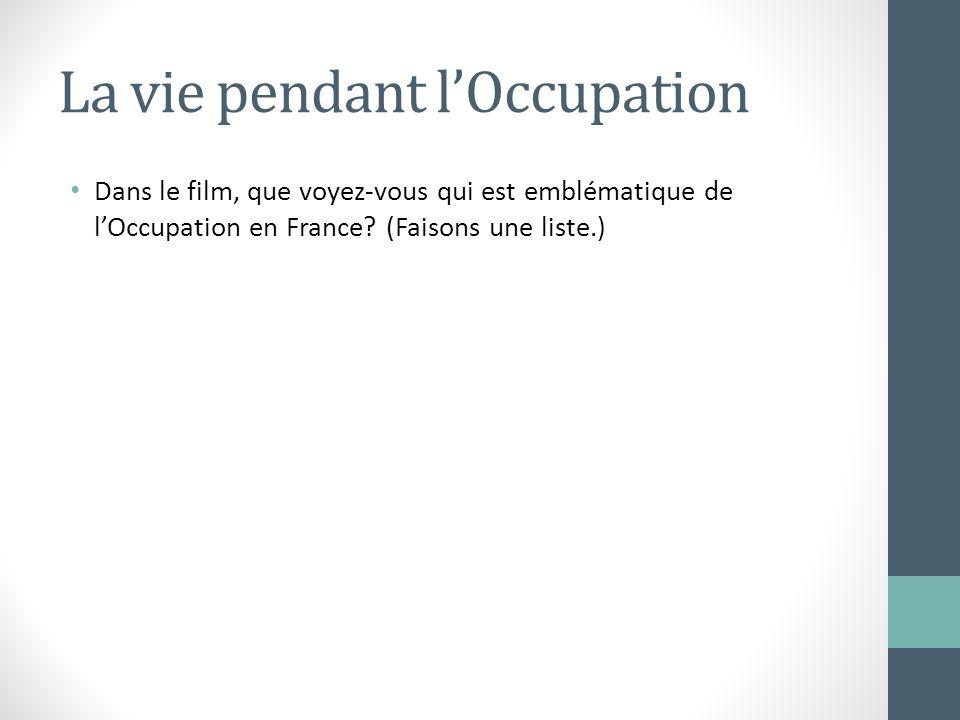 La vie pendant lOccupation Dans le film, que voyez-vous qui est emblématique de lOccupation en France? (Faisons une liste.)