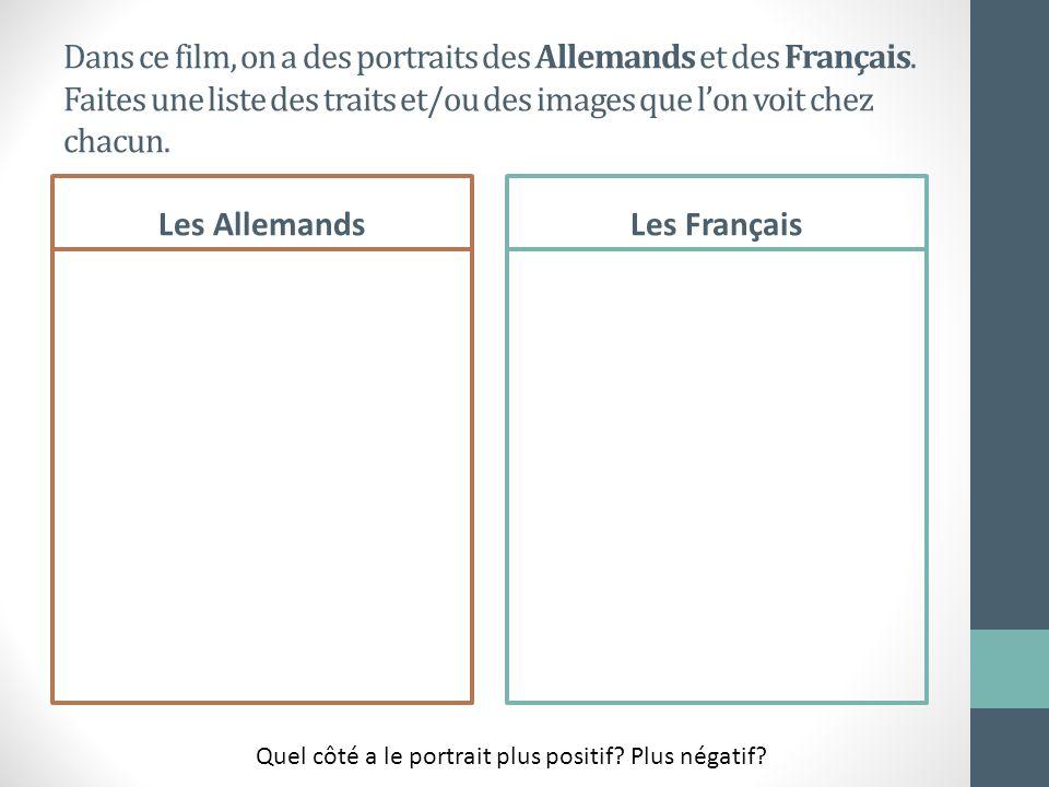 Dans ce film, on a des portraits des Allemands et des Français. Faites une liste des traits et/ou des images que lon voit chez chacun. Les AllemandsLe