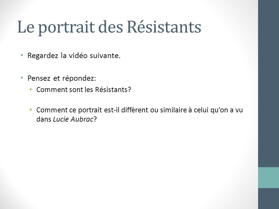 Le portrait des Résistants Regardez la vidéo suivante. Pensez et répondez: Comment sont les Résistants? Comment ce portrait est-il diffèrent ou simila