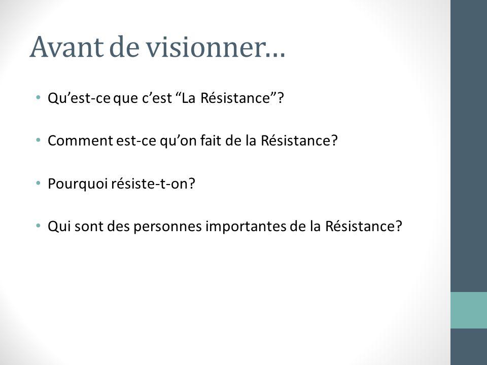 Avant de visionner… Quest-ce que cest La Résistance? Comment est-ce quon fait de la Résistance? Pourquoi résiste-t-on? Qui sont des personnes importan