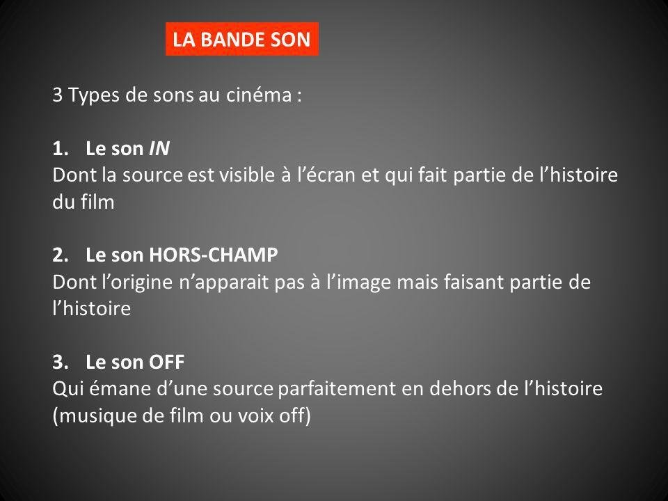 LA BANDE SON 3 Types de sons au cinéma : 1.Le son IN Dont la source est visible à lécran et qui fait partie de lhistoire du film 2.Le son HORS-CHAMP D