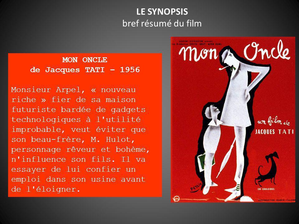 LE SYNOPSIS bref résumé du film MON ONCLE de Jacques TATI – 1956 Monsieur Arpel, « nouveau riche » fier de sa maison futuriste bardée de gadgets techn