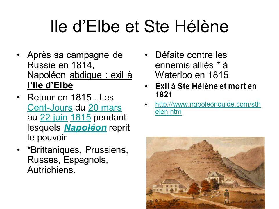 Ile dElbe et Ste Hélène Après sa campagne de Russie en 1814, Napoléon abdique : exil à lIle dElbe Retour en 1815. Les Cent-Jours du 20 mars au 22 juin