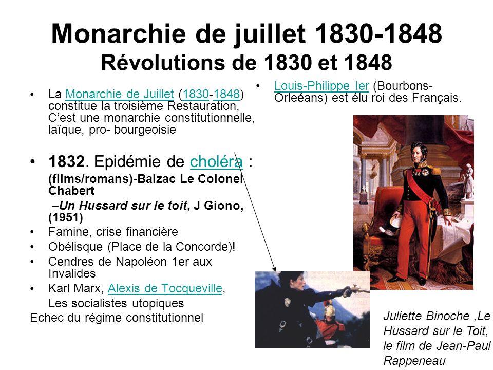 Monarchie de juillet 1830-1848 Révolutions de 1830 et 1848 La Monarchie de Juillet (1830-1848) constitue la troisième Restauration, Cest une monarchie