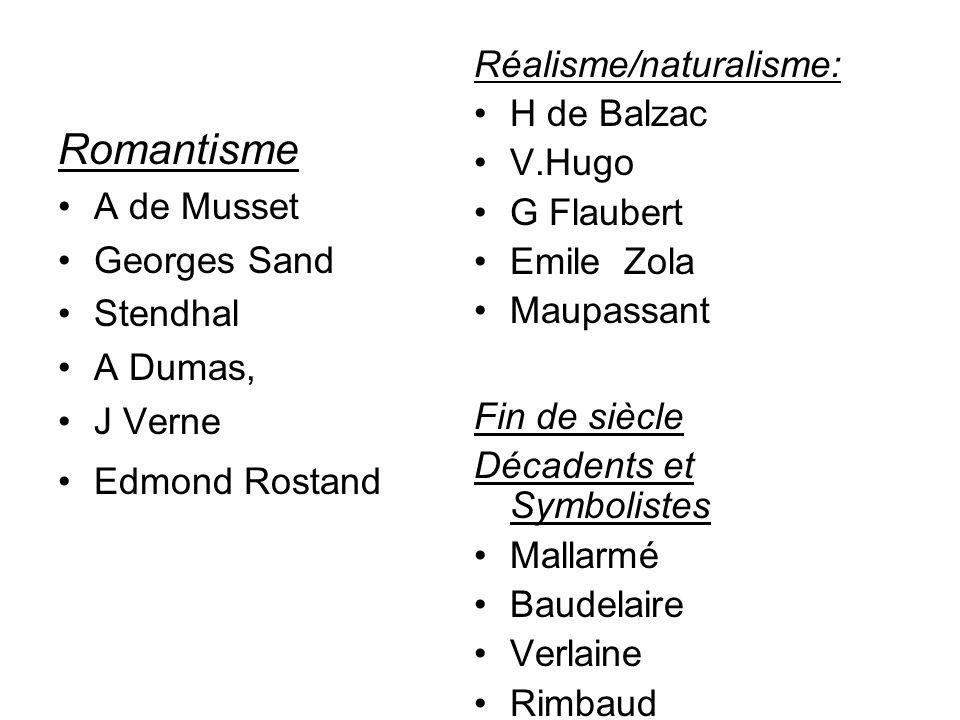 Romantisme A de Musset Georges Sand Stendhal A Dumas, J Verne Edmond Rostand Réalisme/naturalisme: H de Balzac V.Hugo G Flaubert Emile Zola Maupassant