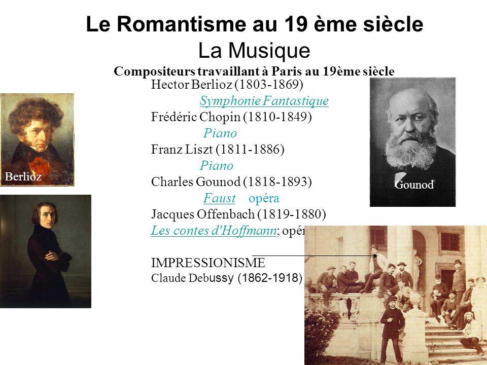 Le Romantisme au 19 ème siècle La Musique Compositeurs travaillant à Paris au 19ème siècle Hector Berlioz (1803-1869) Symphonie Fantastique Frédéric C