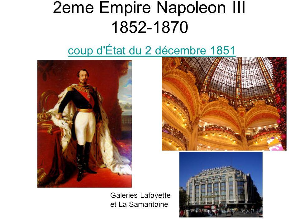 2eme Empire Napoleon III 1852-1870 coup d'État du 2 décembre 1851 coup d'État du 2 décembre 1851 Galeries Lafayette et La Samaritaine