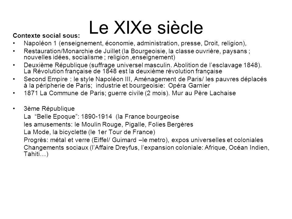 Le XIXe siècle Contexte social sous: Napoléon 1 (enseignement, économie, administration, presse, Droit, religion), Restauration/Monarchie de Juillet (
