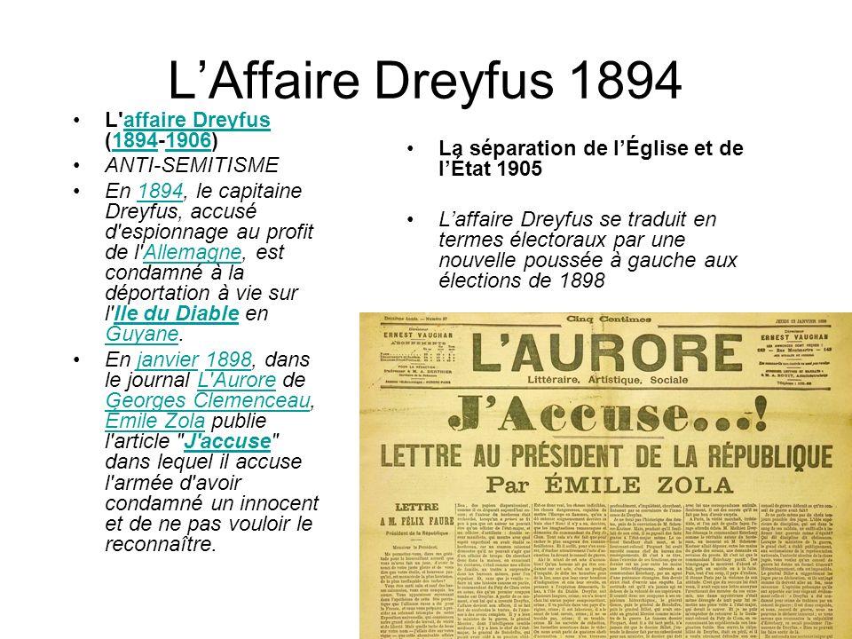 LAffaire Dreyfus 1894 La séparation de lÉglise et de lÉtat 1905 Laffaire Dreyfus se traduit en termes électoraux par une nouvelle poussée à gauche aux