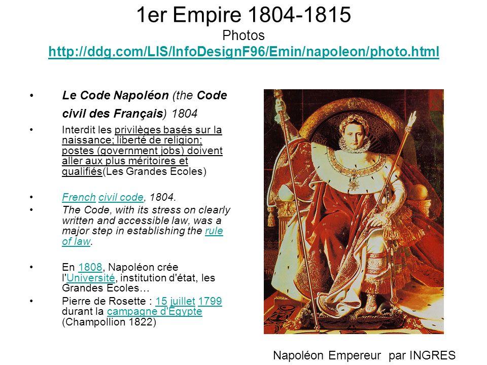 1er Empire 1804-1815 Photos http://ddg.com/LIS/InfoDesignF96/Emin/napoleon/photo.html http://ddg.com/LIS/InfoDesignF96/Emin/napoleon/photo.html Le Cod