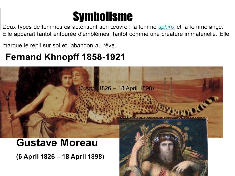 Symbolisme Deux types de femmes caractérisent son œuvre : la femme sphinx et la femme ange. Elle apparaît tantôt entourée d'emblèmes, tantôt comme une
