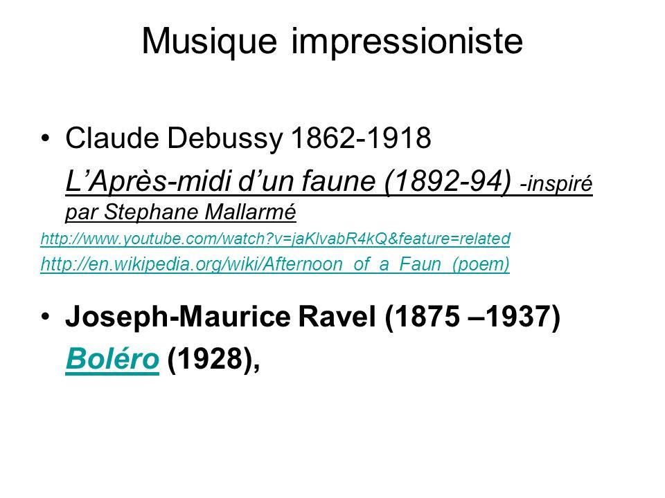 Musique impressioniste Claude Debussy 1862-1918 LAprès-midi dun faune (1892-94) -inspiré par Stephane Mallarmé http://www.youtube.com/watch?v=jaKlvabR