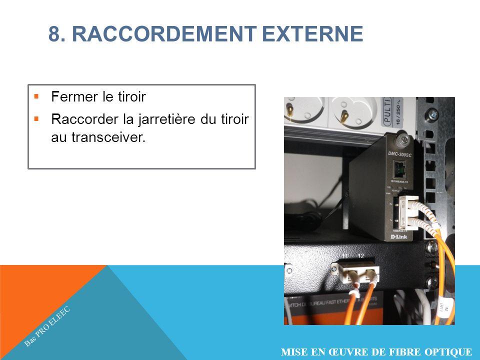 8. RACCORDEMENT EXTERNE Fermer le tiroir Raccorder la jarretière du tiroir au transceiver. Bac PRO ELEEC MISE EN ŒUVRE DE FIBRE OPTIQUE