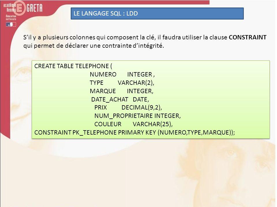 LE LANGAGE SQL : LDD Sil y a plusieurs colonnes qui composent la clé, il faudra utiliser la clause CONSTRAINT qui permet de déclarer une contrainte di