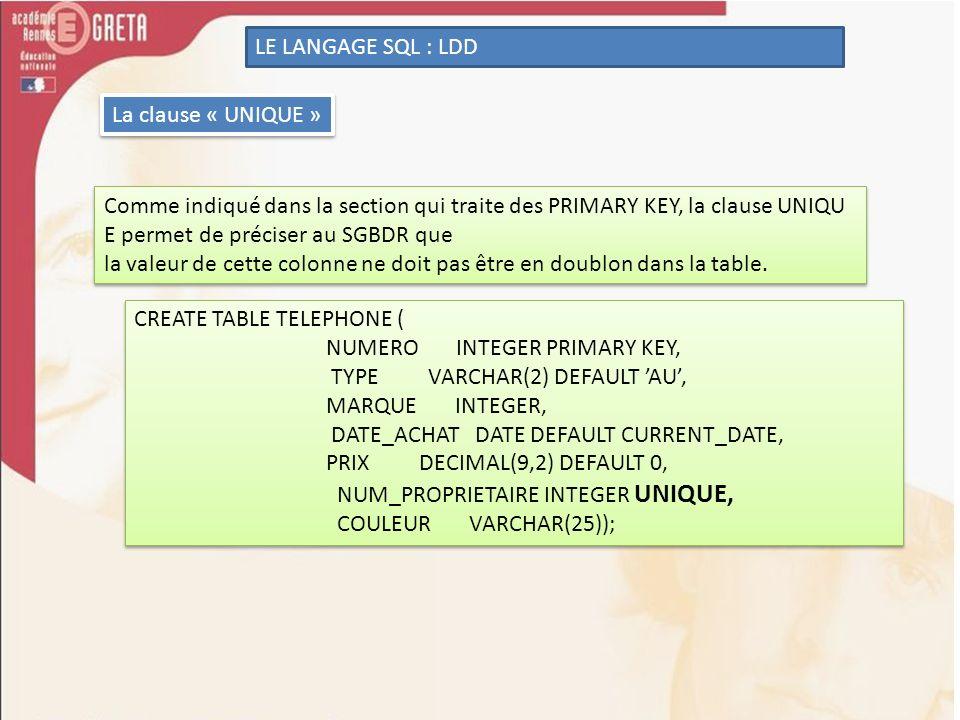 LE LANGAGE SQL : LDD La clause « UNIQUE » Comme indiqué dans la section qui traite des PRIMARY KEY, la clause UNIQU E permet de préciser au SGBDR que