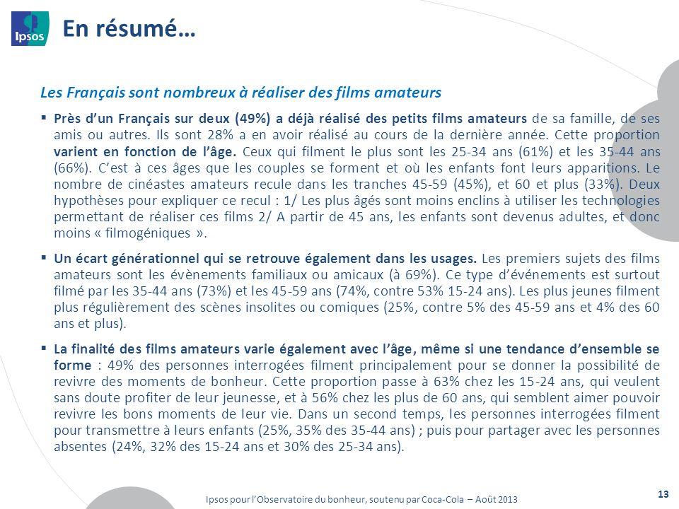 En résumé… Les Français sont nombreux à réaliser des films amateurs Près dun Français sur deux (49%) a déjà réalisé des petits films amateurs de sa famille, de ses amis ou autres.