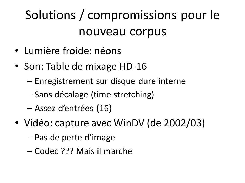 Solutions / compromissions pour le nouveau corpus Lumière froide: néons Son: Table de mixage HD-16 – Enregistrement sur disque dure interne – Sans décalage (time stretching) – Assez dentrées (16) Vidéo: capture avec WinDV (de 2002/03) – Pas de perte dimage – Codec .
