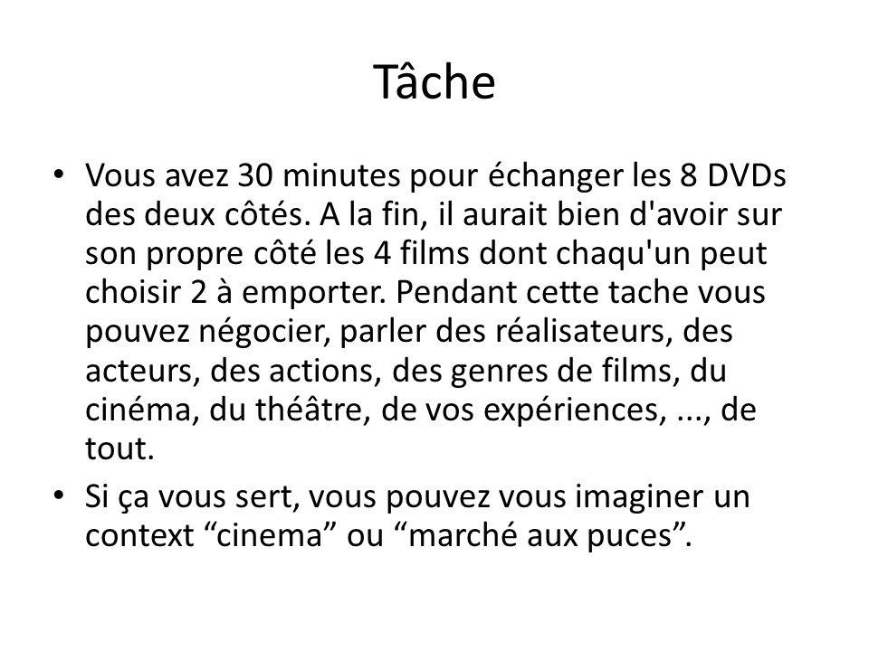 Tâche Vous avez 30 minutes pour échanger les 8 DVDs des deux côtés.