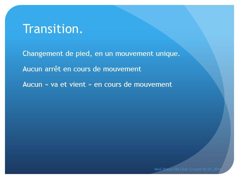 Transition. Changement de pied, en un mouvement unique. Aucun arrêt en cours de mouvement Aucun « va et vient » en cours de mouvement Neil Dixon Ski C