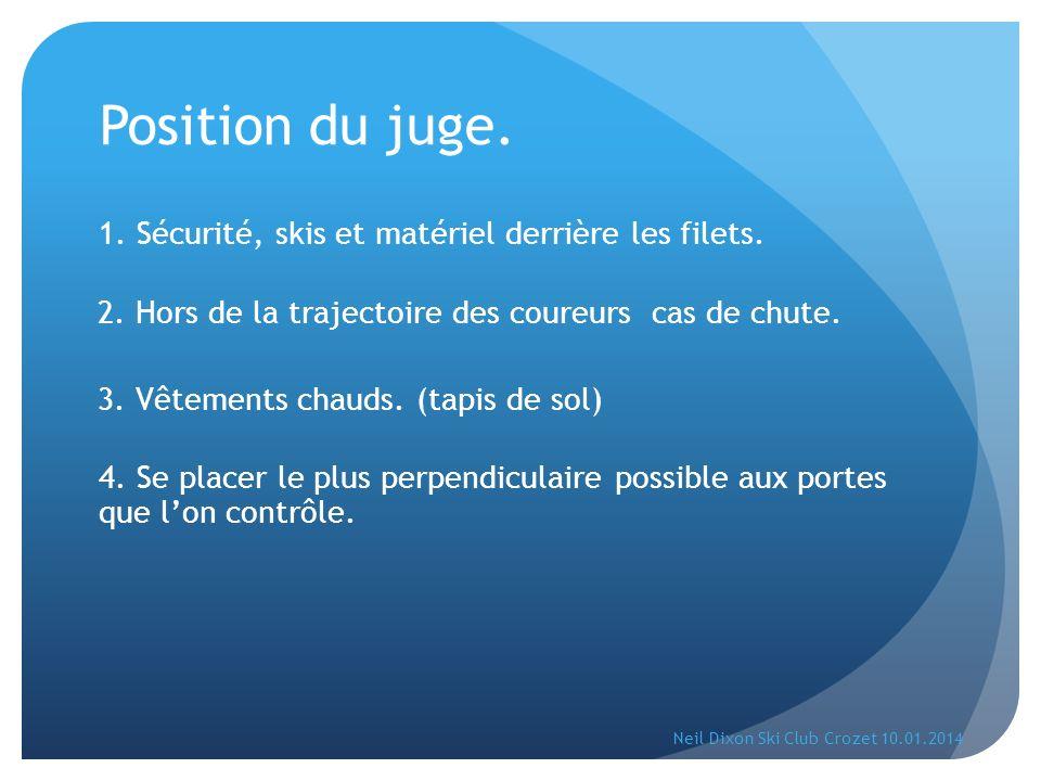 Position du juge. 1. Sécurité, skis et matériel derrière les filets. 3. Vêtements chauds. (tapis de sol) 4. Se placer le plus perpendiculaire possible
